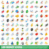 100 money icons set, isometric 3d style. 100 money icons set in isometric 3d style for any design vector illustration stock illustration