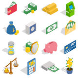 Money Icons set, isometric 3d style Royalty Free Stock Photos