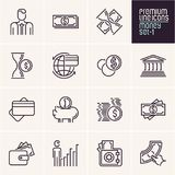 Money icons set, finance, payments. Money icons set, line money icons, finance, payments Stock Photos