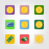 Money icons. Set of nine icons with coins and money in a flat style with long shadow Royalty Free Stock Images