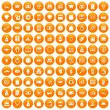 100 money icons set orange. 100 money icons set in orange circle isolated on white vector illustration royalty free illustration