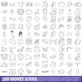 100 money icons set, outline style Royalty Free Stock Photos