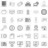 Money icons set, outline style Royalty Free Stock Photo