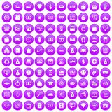 100 money icons set purple. 100 money icons set in purple circle isolated on white vector illustration Vector Illustration