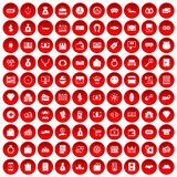 100 money icons set red. 100 money icons set in red circle  on white vector illustration Royalty Free Stock Image