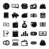 Money icons set, simple style. Money icons set. Simple illustration of 25 money vector icons for web Royalty Free Stock Photos