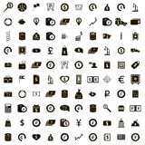 100 money icons set, simple style. 100 money icons set in simple style on a white background Royalty Free Stock Photos