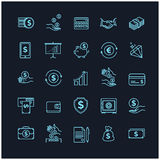 Money icons set. UI money elements on a black background. For your design Royalty Free Stock Image