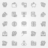 Money icons set Stock Images