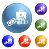 Money icons set vector royalty free illustration
