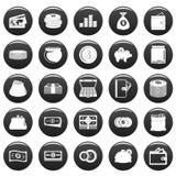 Money icons set vetor black. Money icons set. Simple illustration of 25 money vector icons black isolated Stock Image