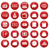 Money icons set vetor red. Money icons set. Simple illustration of 25 money vector icons red isolated Royalty Free Stock Photography