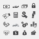 Money icons set Stock Photos