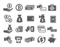 Money icons set. On white background Royalty Free Stock Photo