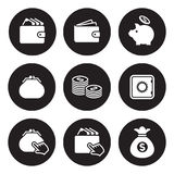 Money icons set. White on a black background Royalty Free Stock Photography