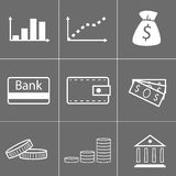 Money icons. Simple mininmal icons of money Royalty Free Stock Photos