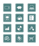 Money icons | TEAL series. All about earning, saving and spending money icon set Stock Photos