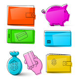 Money Icons. Vector Business Symbols. Isolated Retro Money Signs Stock Photos
