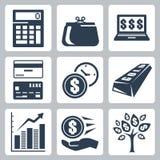 Money icons vector set. Dark blue money icons vector set Stock Photography