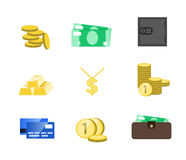 Money icons vector set. Money sign vector illustration. Vector c. Ash. Saving cash and investments vector icons. Capital increase vector concept. Money in the Royalty Free Stock Photography