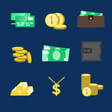 Money icons vector set. Money sign vector illustration. Vector c. Ash. Saving cash and investments vector icons. Capital increase vector concept. Money in the Stock Images