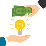 Money for idea. Money for idea concept. Hand giving idea light bulb and another hand giving green dollars. Concept of deal, selling and investment Stock Photos