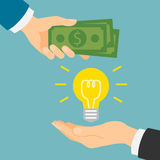 Money for idea. Money for idea concept. Hand giving idea light bulb and another hand giving green dollars. Concept of deal, selling and investment Stock Photo