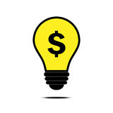 Money idea with dollar and bulb sign Royalty Free Stock Image