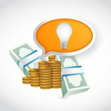 Money idea light bulb concept illustration. Design over white Stock Photos