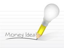 Money idea message written with a light bulb Stock Image