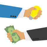 Money for the idea. Idea trading for money concept in flat style. One hand holding a light bulb while the other hand offers money. Purchase or sale of a new Stock Photography