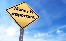 Money is important sign. On blue sky background,3d rendered Stock Images