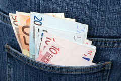 Money In A Pocket Of Jeans Stock Photos