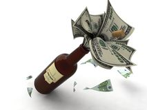 Money In A Wine Bottle Stock Photography