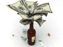 Money In A Wine Bottle Royalty Free Stock Photo
