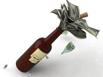 Money In A Wine Bottle Stock Images