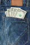 Money In Jeans Back Pocket Royalty Free Stock Photo
