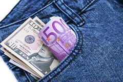 Money In Jeans Pocket Royalty Free Stock Photography