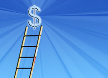 Money incentive. Step ladder reaching for dollar sign Stock Image