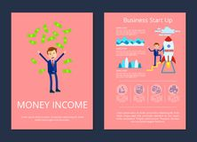 Money Income and Business Vector Illustration. Money income and business start up, businessman tossing up money and standing on rocket, text and icons vector Royalty Free Stock Photos