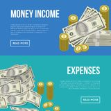 Money income flyers with paper banknotes. And golden coins. Financial safety and cash security, banking services and online money transaction, capital save and Stock Images