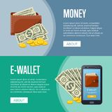 Money income and online wallet flyers. With paper banknotes and golden coins in cartoon style. Financial safety and cash security, e-commerce and internet money Stock Image