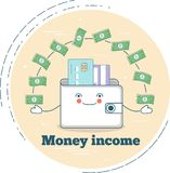 Money income concept in line art style. Money income trendy concept in line art style. Banking and finance, ecommerce service sign, business technology, retail Stock Image