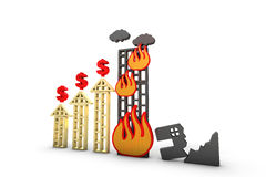Money increase burned house graph Royalty Free Stock Images