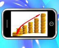Money Increasing On Smartphone Showing Big Earnings Royalty Free Stock Photos
