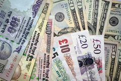 Money Indian, UK and US currency notes Stock Photo