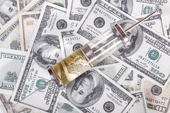 Money with injection. View top at money with injection stock photos
