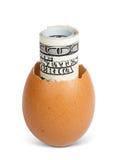 Money inside a broken egg Royalty Free Stock Photos