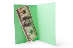 Money inside opening postcard Royalty Free Stock Photos