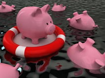 Money insurance concept with piggy bank and lifebuoy Stock Images